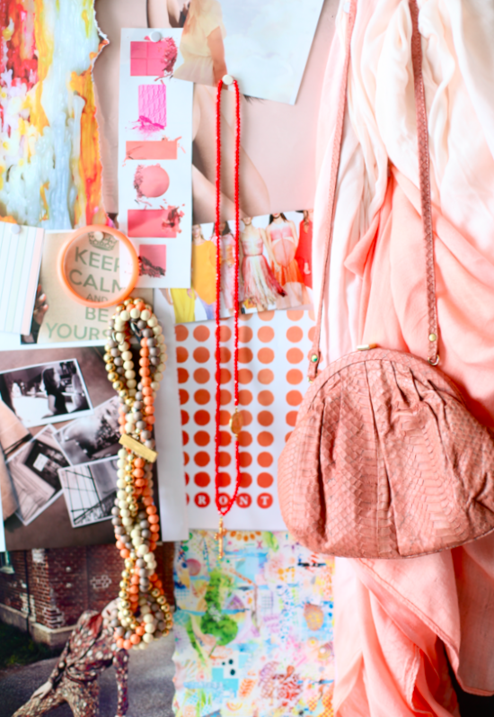 Salmon colored mood board passion and obsession