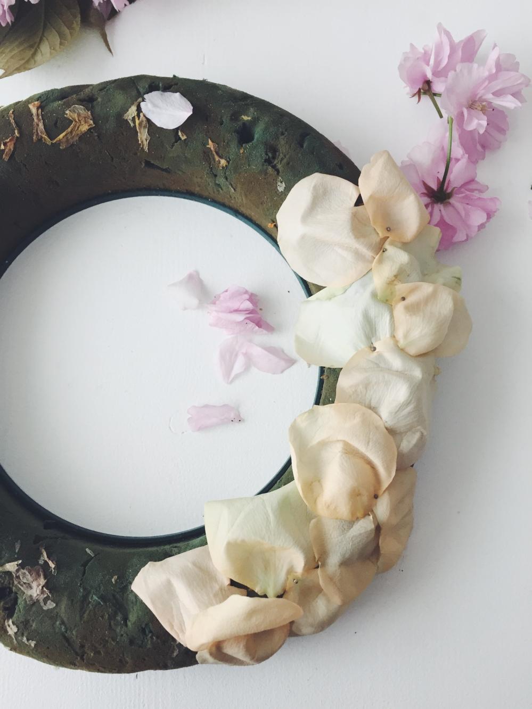 rose petals on a wreath